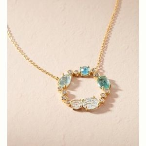 ANTHROPOLOGIE BIRTHSTONE DECEMBE INFINITY NECKLACE